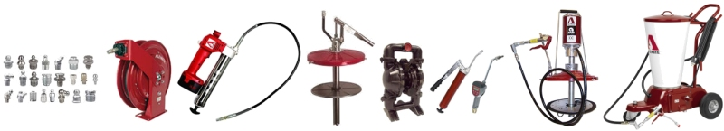 Alemite Greasing Equipment: reels, grease guns, fittings, pumps, metering valves and more
