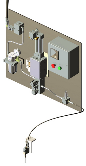 Automated Lubricant Dispensing Workstation for measured, timed dispense bead of grease in Automotive Parts Integrator Application